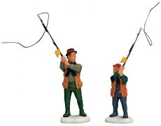 Flyfishing With Dad, Set Of 2, padre e figlio che pescano, 12495 Lemax